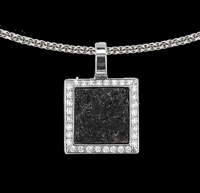 Pendentif or gris serti & granite