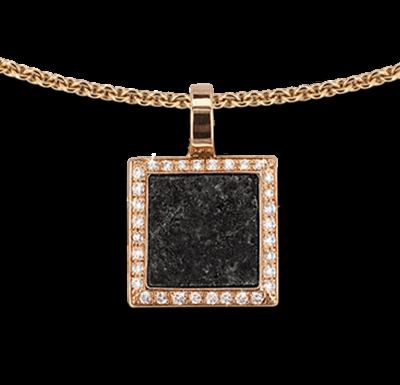 Pendentif or rose serti & granite - Bijoux Bonnet